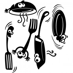 Vinilo utensilios de cocina felices