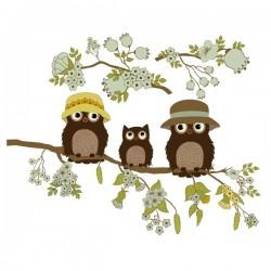 Vinilo infantil familia búhos 1