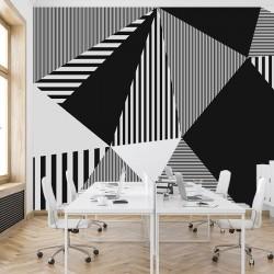 Mural triángulos blanco y...