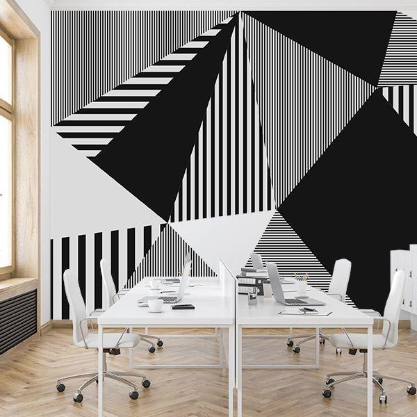 Mural triángulos blanco y negro