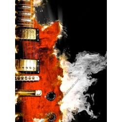 Vinilo mesa guitarra ardiendo