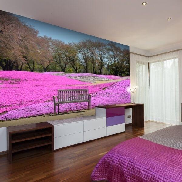 Fotomural jardín rosa