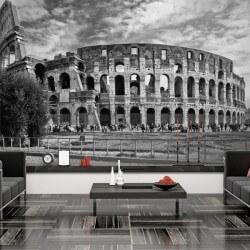 Mural Coliseo Roma blanco y...