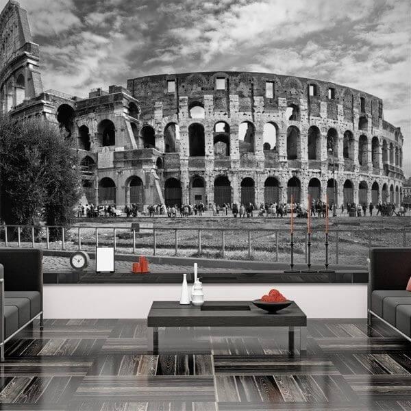 Mural Coliseo Roma blanco y negro