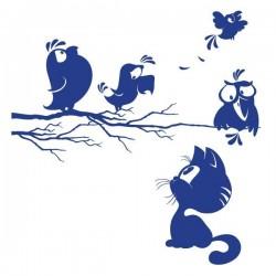 Vinilo infantil gato y pájaros