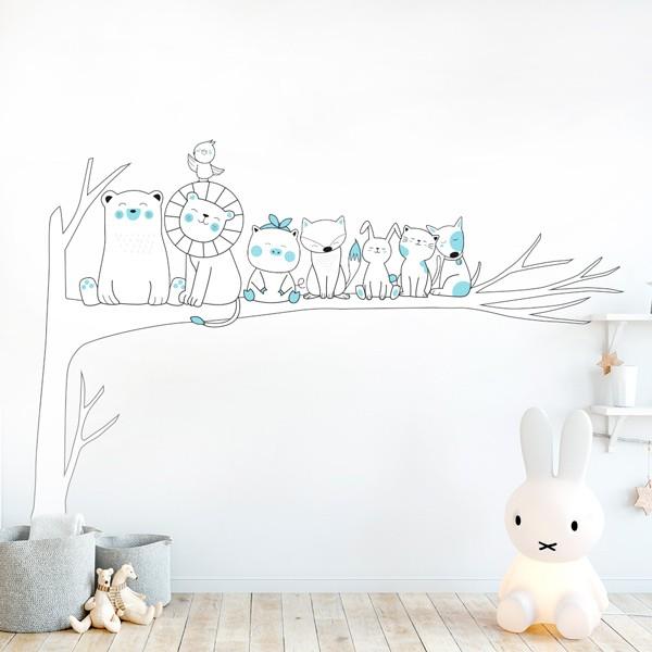 Vinilo árbol animales infantiles