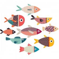 Vinilo cardumen de peces