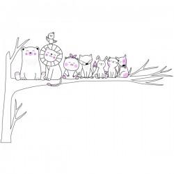 Vinilo animales sobre árbol