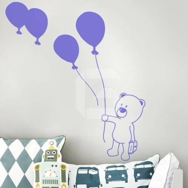 Vinilo bebé oso con globos