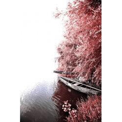 Fotomural barca en el río