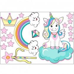 Vinilo unicornio con estrellas