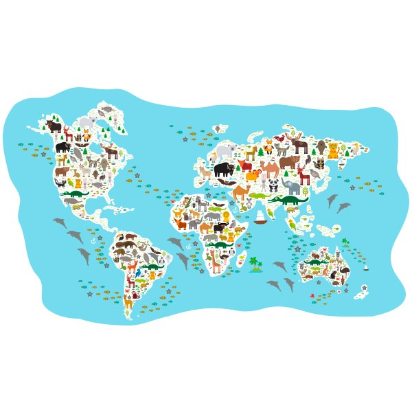 Mapa Del Mundo Infantil.Vinilo Mapamundi Infantil