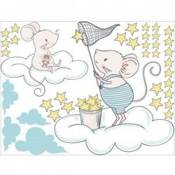 Vinilo ratoncitos con estrellas