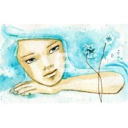 Mural de pared watercolor niña