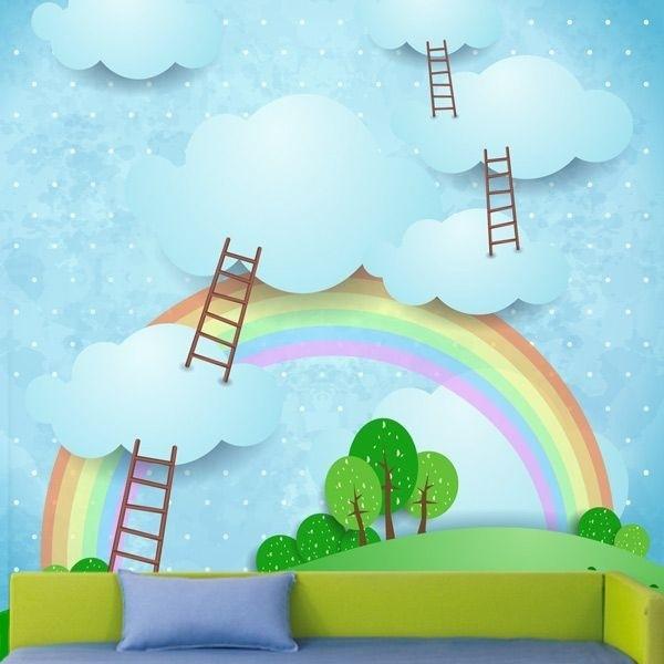 Mural de pared escalera nubes