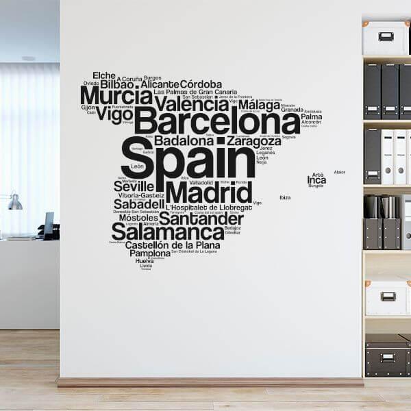 Vinilo nube ciudades de España
