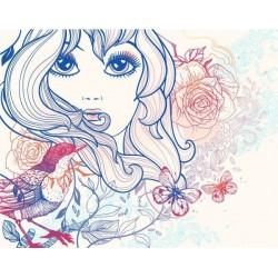 Mural infantil chica con flores