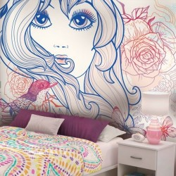 Mural infantil chica con...