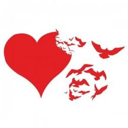 Vinilo corazón de pájaros