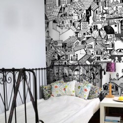 Mural dibujo de casas