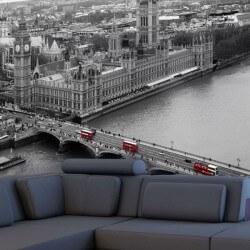 Mural Londres blanco y negro