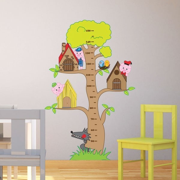 Vinilo infantil árbol 3 cerditos