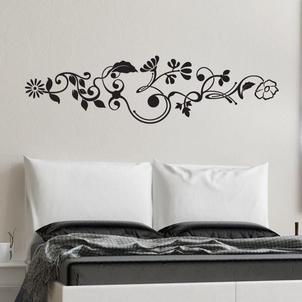 Vinilo de pared flores cebecero adhesivos decorativos armarios puertas y neveras - Decoracion paredes vinilos adhesivos ...