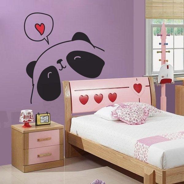 Vinilo infantil panda enamorado