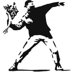 Vinilo manifestante lanzando flores