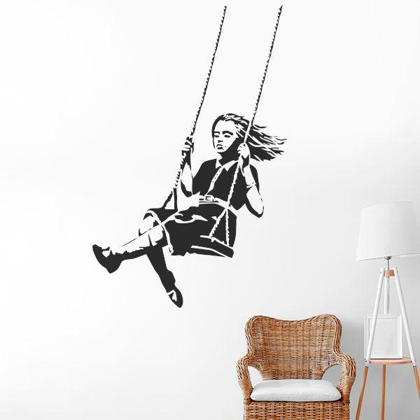 Vinilo Banksy niña en columpio