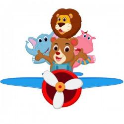 Vinilo infantil avioneta con animales