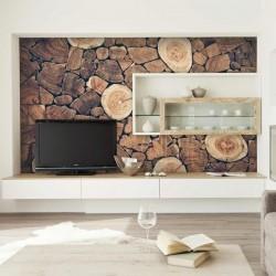 Mural en vinilo pared de leña