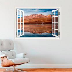 Vinilo ventana montaña y playa