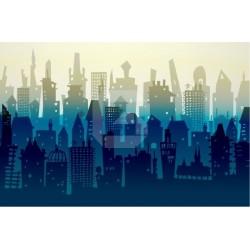 Mural en vinilo ciudad azul