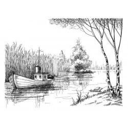 Mural de pared paz en el lago