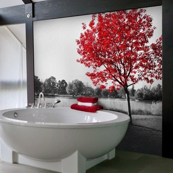 Mural decorativo árbol rojo