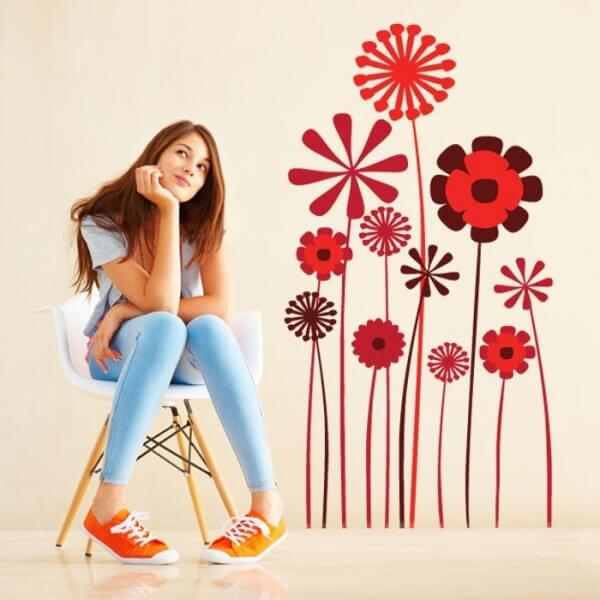 Vinilo de pared variedad de flores