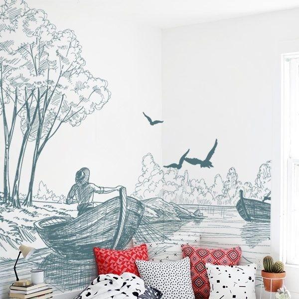 Mural de pared barcazas