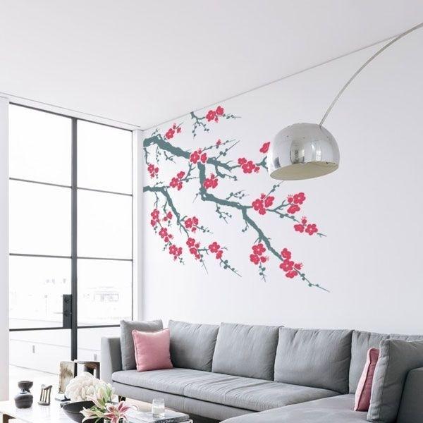 Vinilo decorativo árbol con flores