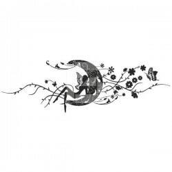 Vinilo decorativo chica en la luna