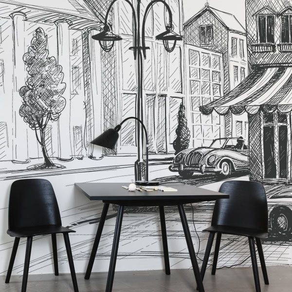Mural en vinilo diseño a lápiz