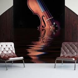 Mural violín sobre el agua
