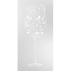 Vinilo arenado vaso y flores