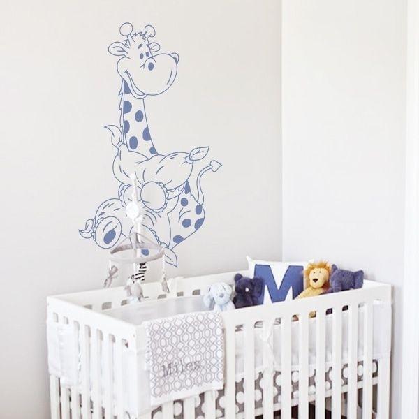 Vinilo jirafa bebé y almohada