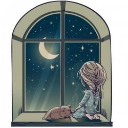 Vinilo niña en la ventana