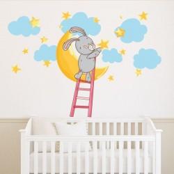 Vinilo bebé conejito con estrellas