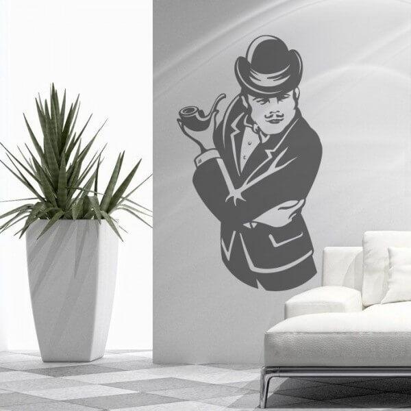 Vinilo de pared hombre con pipa