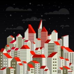 Fotomural de ciudad ilustrada