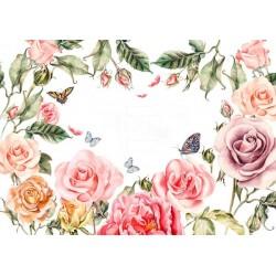 Vinilo muebles flores vintage 1