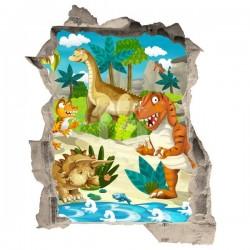 Vinilo de trampantojo dinosaurios
